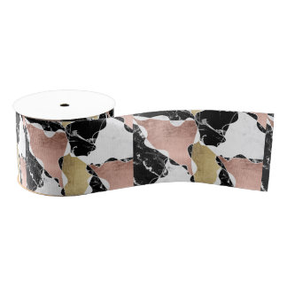 Geometric rose gold black white marble color block grosgrain ribbon