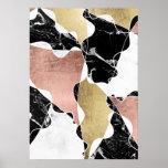 Geometric rose gold black white marble colour poster