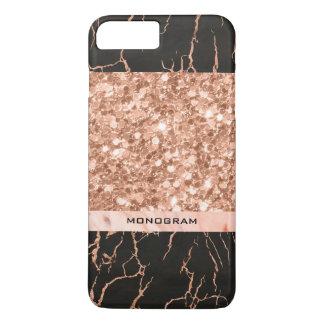 Geometric Rose-Gold Glitter & Black Marble Pattern iPhone 8 Plus/7 Plus Case
