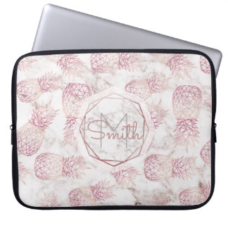 Geometric rose gold pineapples marble pattern laptop sleeve