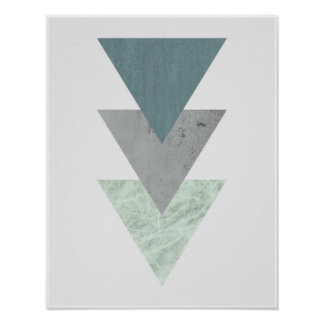 Geometric Scandinavian coastal hues triangle art Poster