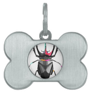 Geometric Scarab Pet Name Tag