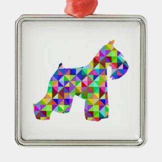 Geometric Schnauzer Silver-Colored Square Ornament