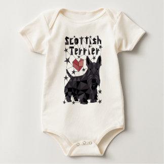 Geometric Scottish Terrier Baby Bodysuit
