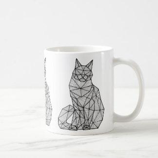 Geometric Seated Cat, Front Large Coffee Mug