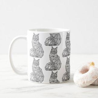 Geometric Seated Cat, Front Repeating Coffee Mug