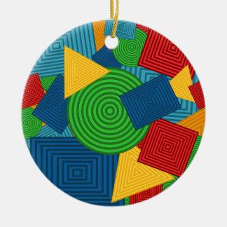 Geometric Shapes Collage (Bright Colors) Round Ceramic Ornament