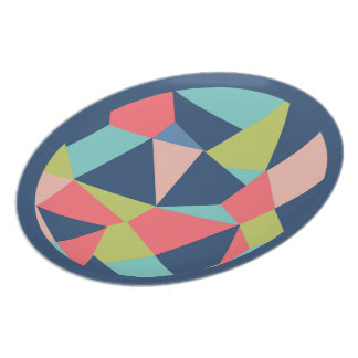 Geometric shapes in blue, salmon and green plate