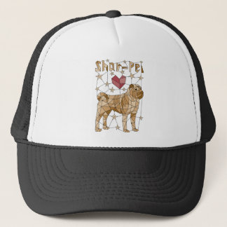 Geometric Shar Pei Trucker Hat