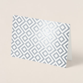 Geometric Silver and White Meander Foil Card