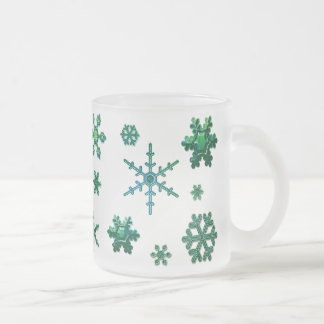 Geometric Snowflakes - Ocean Frosted Glass Coffee Mug
