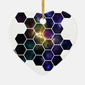 geometric space ceramic heart ornament
