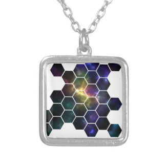 geometric space silver plated necklace