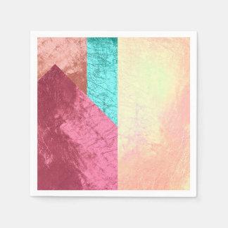 Geometric Splash of Colors Pink Rose Gold Blush Napkin