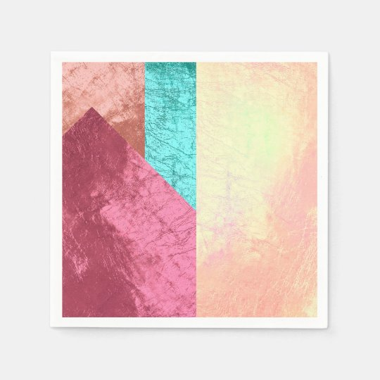 Geometric Splash of Colours Pink Rose Gold Blush Disposable Napkin