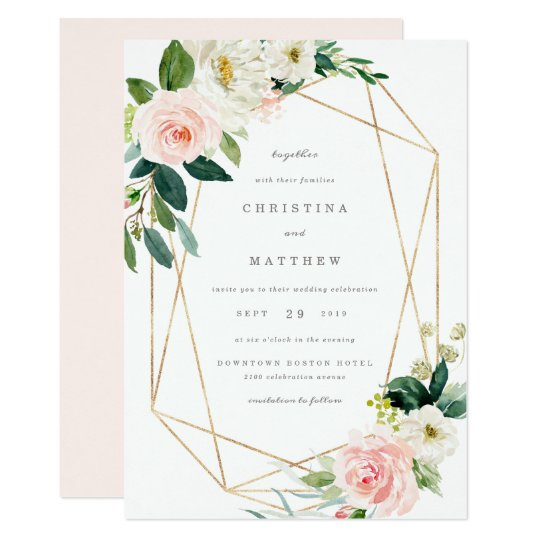 Geometric Spring Romance Wedding Invitation Zazzle Ca