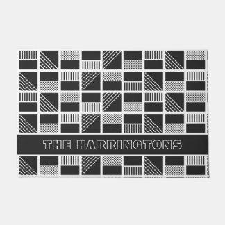 Geometric Squares custom name door mat