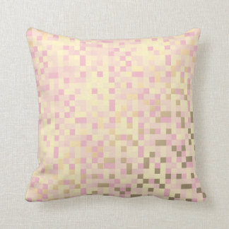Geometric Squares Foxier Gold Pink Rose Cyber Throw Pillow