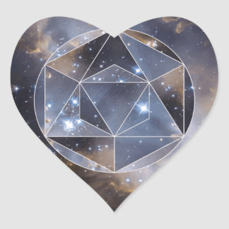 Geometric star cluster heart sticker