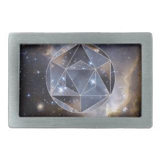 Geometric star cluster rectangular belt buckles
