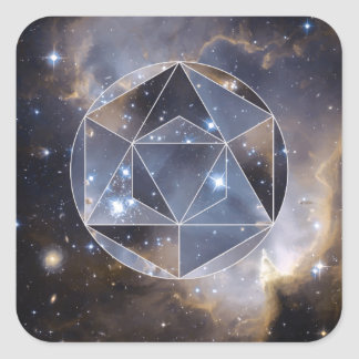 Geometric star cluster square sticker