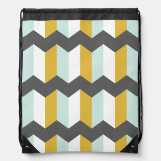 Geometric Stripes Chevron Mint And Yellow Pattern Drawstring Bag