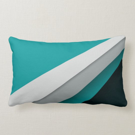 Geometric Stripes of Black, Turquoise and White Lumbar Pillow