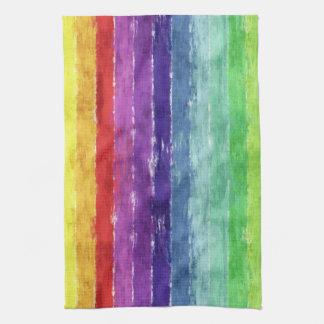 Geometric Stripes Watercolor Kitchen Towel