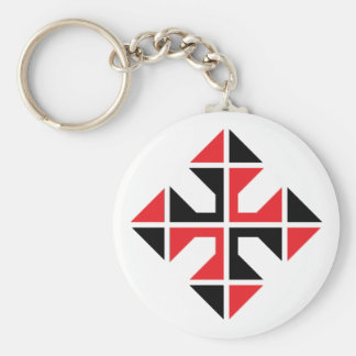 Geometric style red and black Cross Basic Round Button Keychain