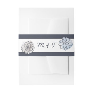 Geometric Succulent Wedding Belly Band Invitation Belly Band