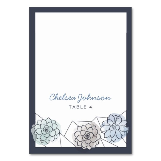 Geometric Succulent Wedding Place Card