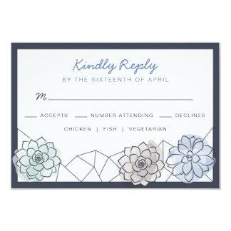 Geometric Succulent Wedding RSVP Card