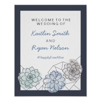 Geometric Succulent Wedding Welcome Sign