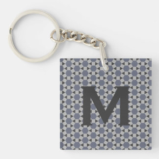Geometric Tessellation Pattern in Grey and Blue Double-Sided Square Acrylic Keychain