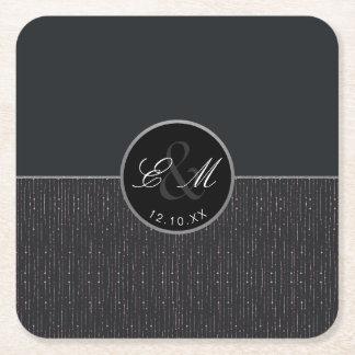Geometric Textured Monogram Wedding Paper Coaster
