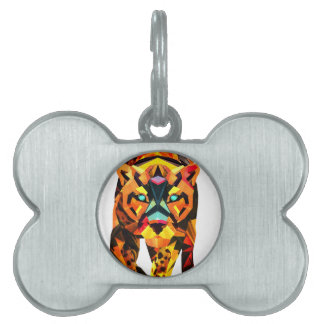 Geometric Tiger Prowl Pet Tag