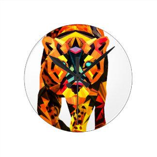 Geometric Tiger Prowl Wall Clocks