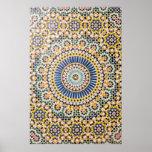 Geometric tile pattern, Morocco Poster