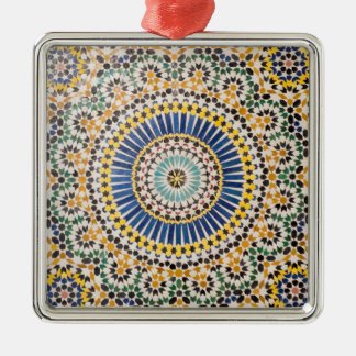 Geometric tile pattern, Morocco Silver-Colored Square Ornament