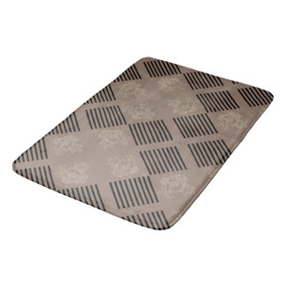 Geometric tiles of stripes & leaves, gray/rose bath mat