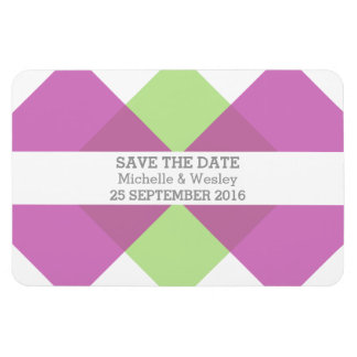 Geometric Triad Save the Date Magnet Fuchsia Green