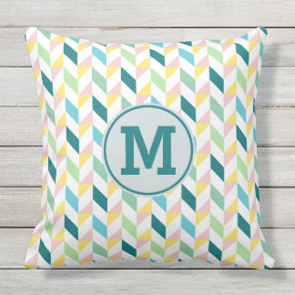 Geometric Triangle Pattern Teal Pink Mint Monogram Throw Pillow