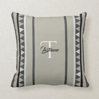 Geometric Triangle Pattern with Monogram Throw Pillow