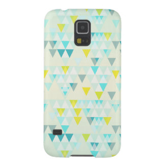 Geometric Triangles Aqua Blue White Yellow Pattern Galaxy S5 Cover