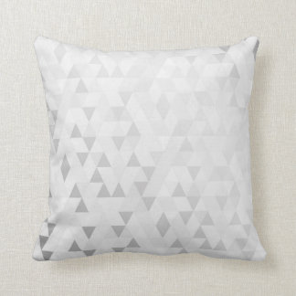 Geometric Triangles Charcoal Gray Silver Throw Pillow