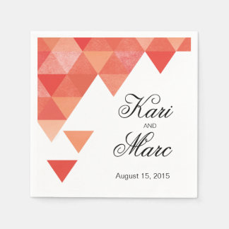 Geometric Triangles Cocktail Party   coral Napkin
