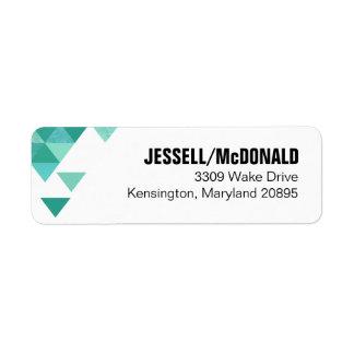 Geometric Triangles Mailing | teal turquoise Return Address Label