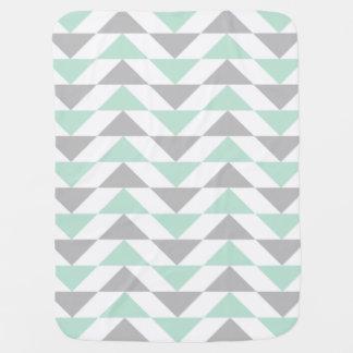 Geometric Triangles Mint Green Gray White Pattern Baby Blanket
