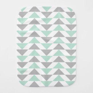 Geometric Triangles Mint Green Gray White Pattern Burp Cloth