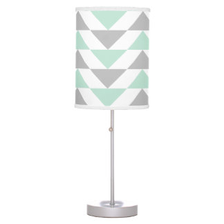 Geometric Triangles Mint Green Gray White Pattern Table Lamp